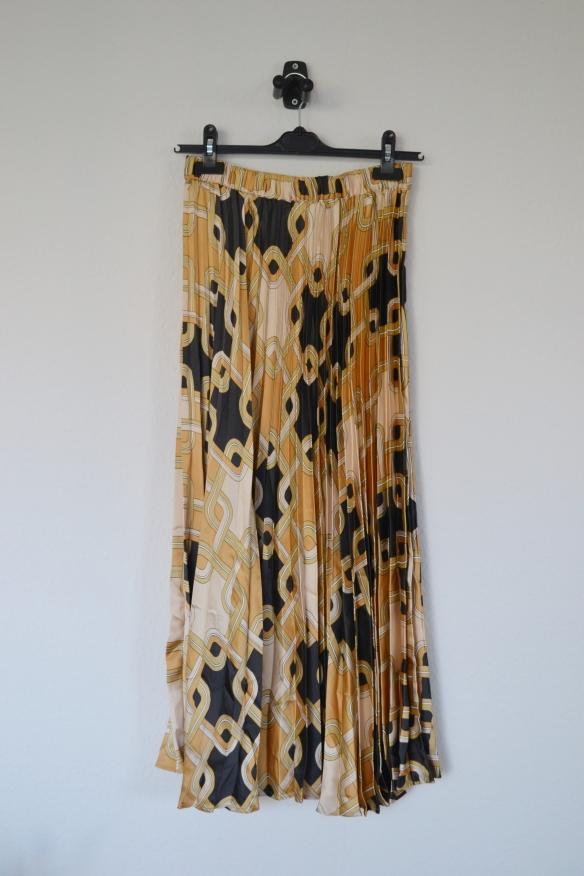 Gul, sort og cremefarvet mønstret plisséret maxi nederdel - H&M x Richard Allan
