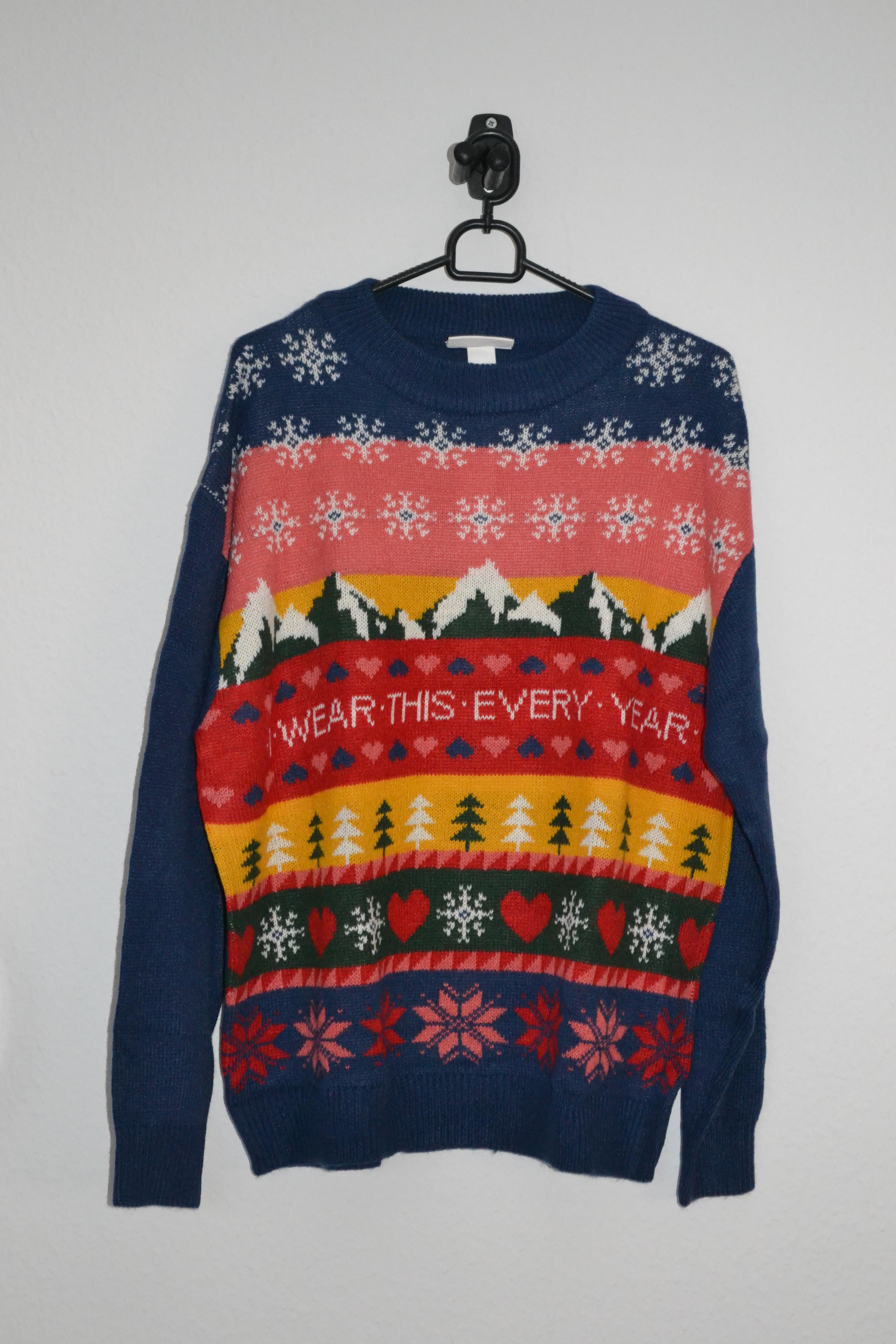 Navy + mulitfarvet oversized sweater m. sne og bjerge - Monki