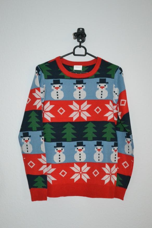 Rød og blå stribet sweater m. snemænd og juletræer - Vila