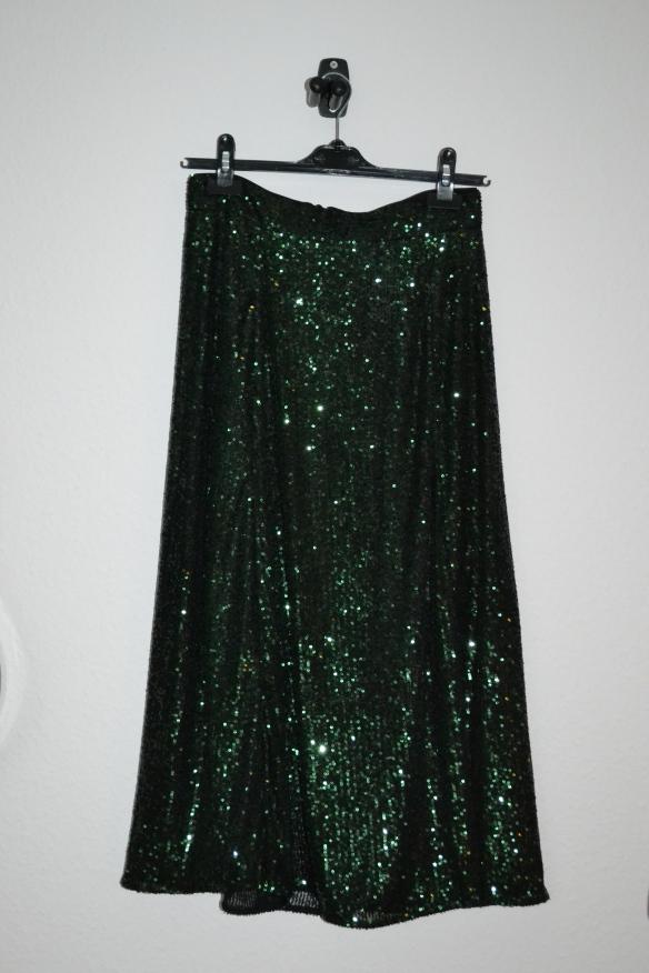 Mørkegrøn paillet midi nederdel - H&M