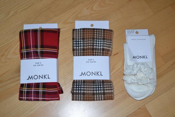 Monki ternede strømpebukser + blondestrømper