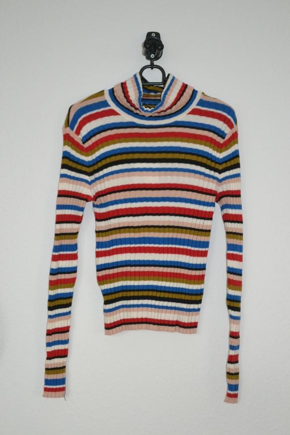 Multifarvet stribet rullekravetrøje - Monki