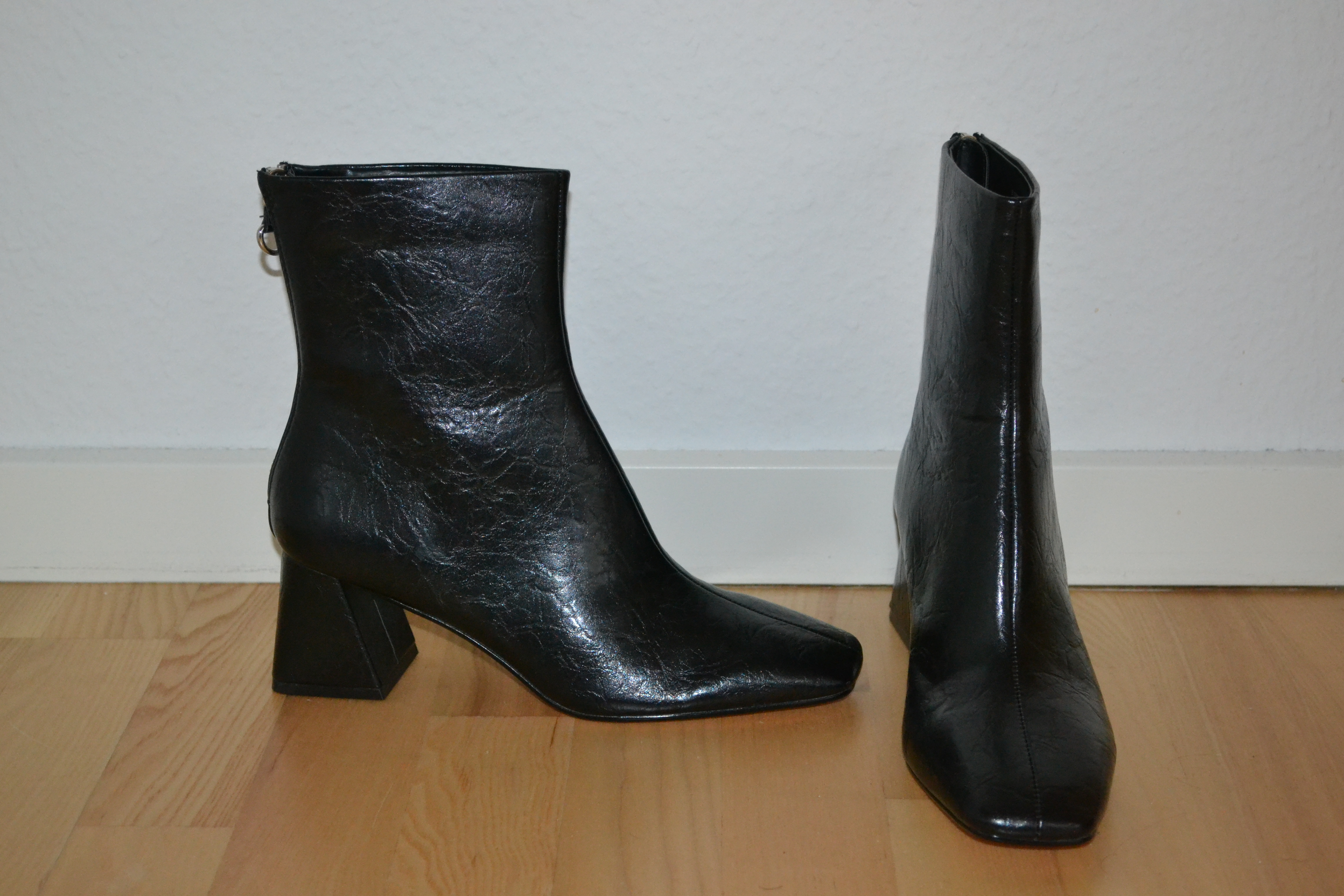 Sorte støvler m. firkantede snuder - Topshop