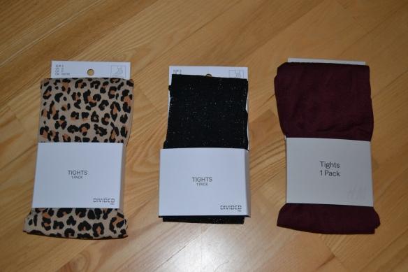 Tre par strømpebukser (leopard, glitter, bordeaux)