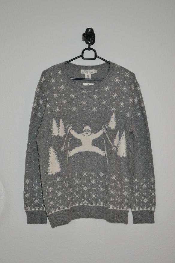 Grå sweater m. skiløber og sne - H&M