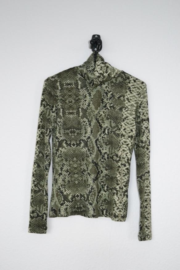 Grøn slangeprint rullekravetrøje - H&M