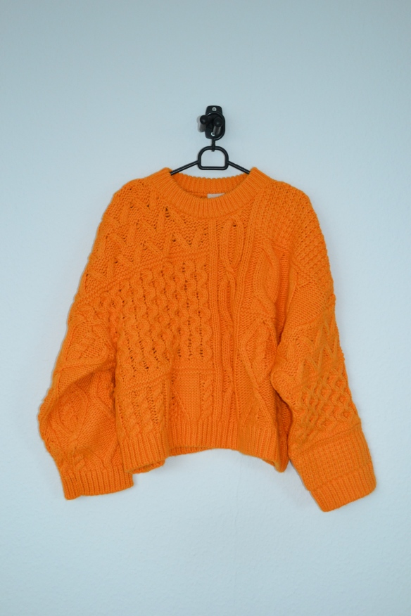 Orange oversized cropped sweater - H&M