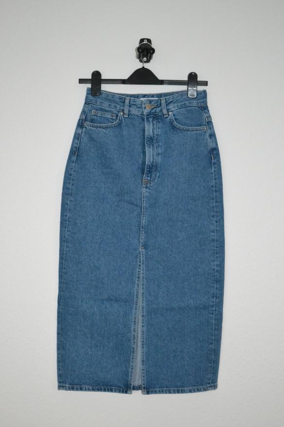 Blå denim midi nederdel - H&M