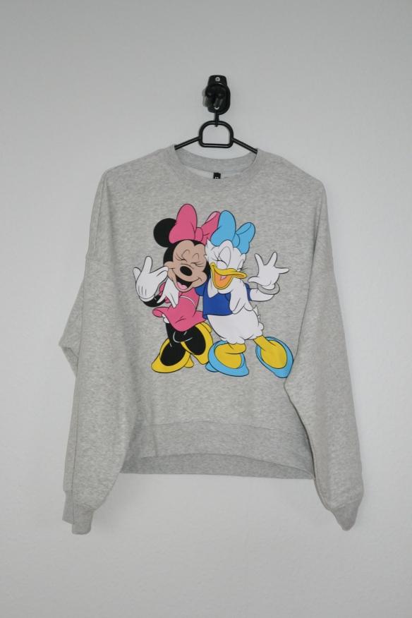 Lysegrå sweatshirt m. Minnie Mouse og Andersine print - H&M