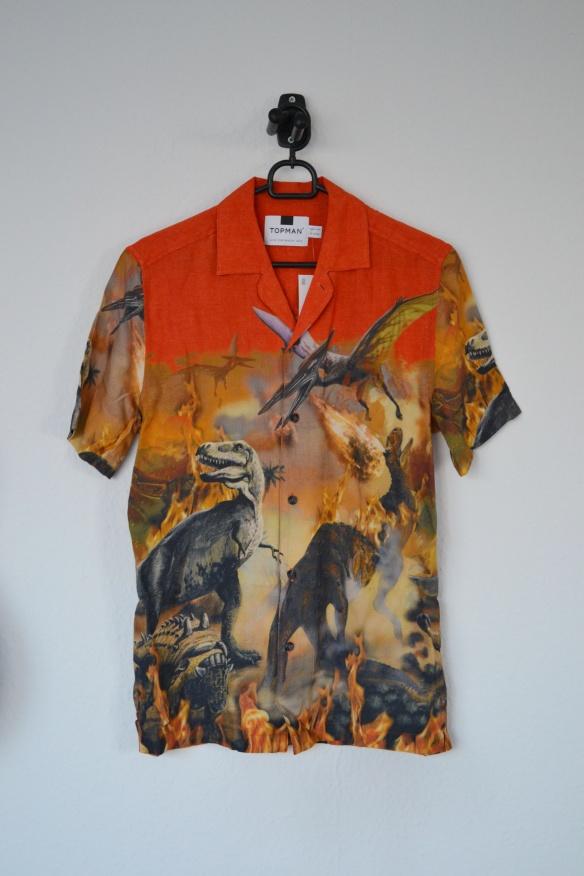 Orange skjorte m. dinosaur print - Topman