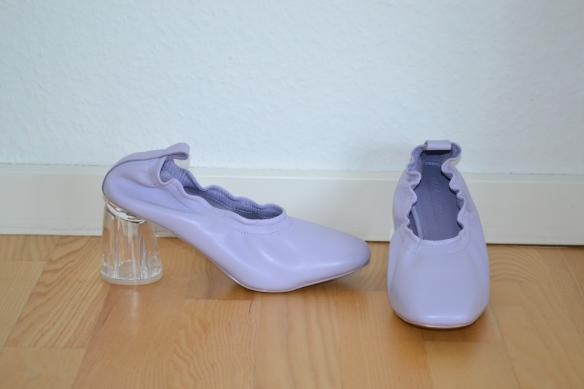 Lilac læderpumps m. gennemsigtig hæl - Asos