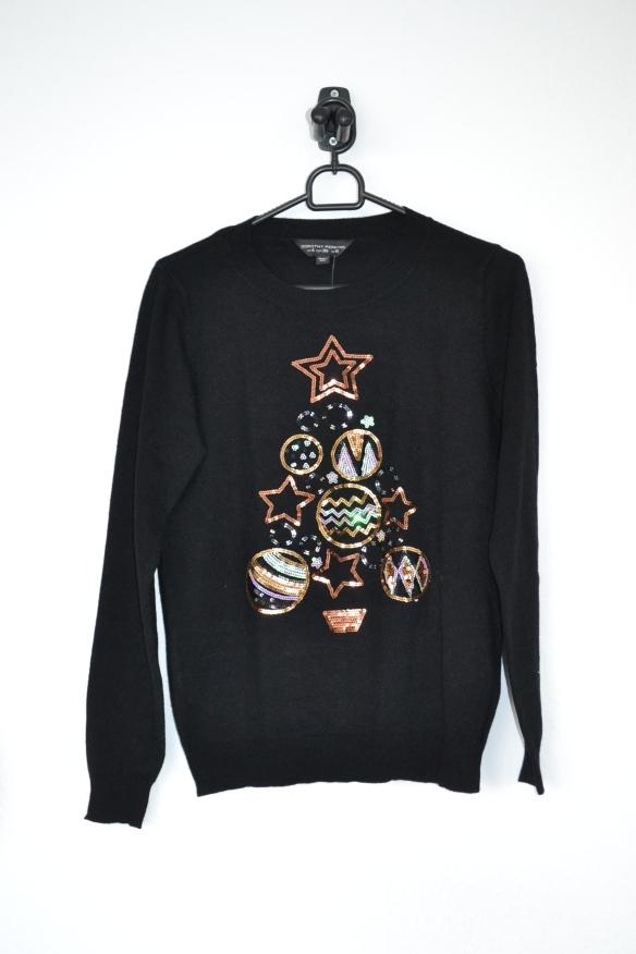 Sort sweater m. pailletjuletræ af julekugler og stjerner - Dorothy Perkins