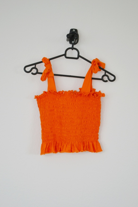 Orange crop top m. bindebånd - Boohoo