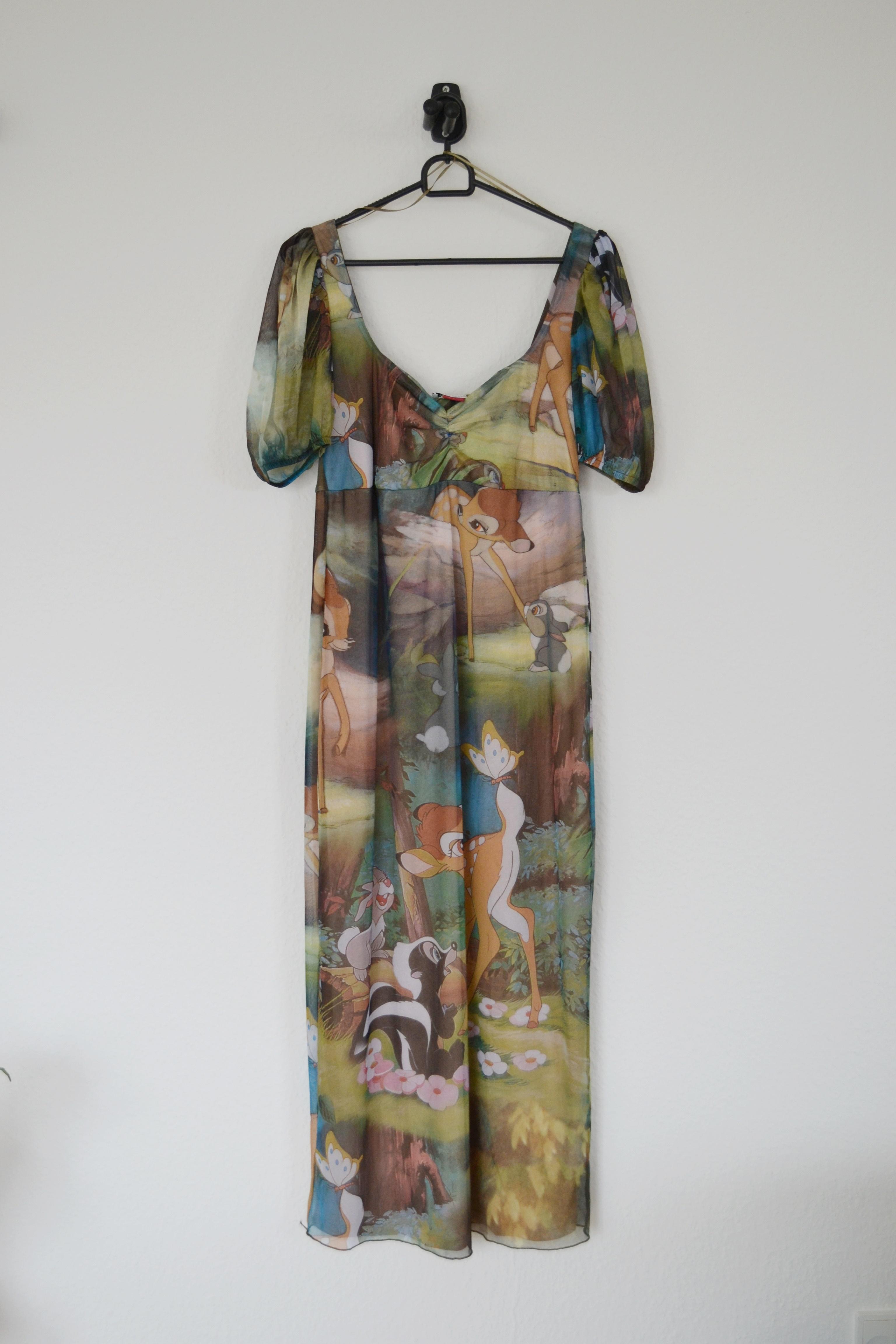 Grøn og brun Bambi print midi kjole m. tyllag - Zara