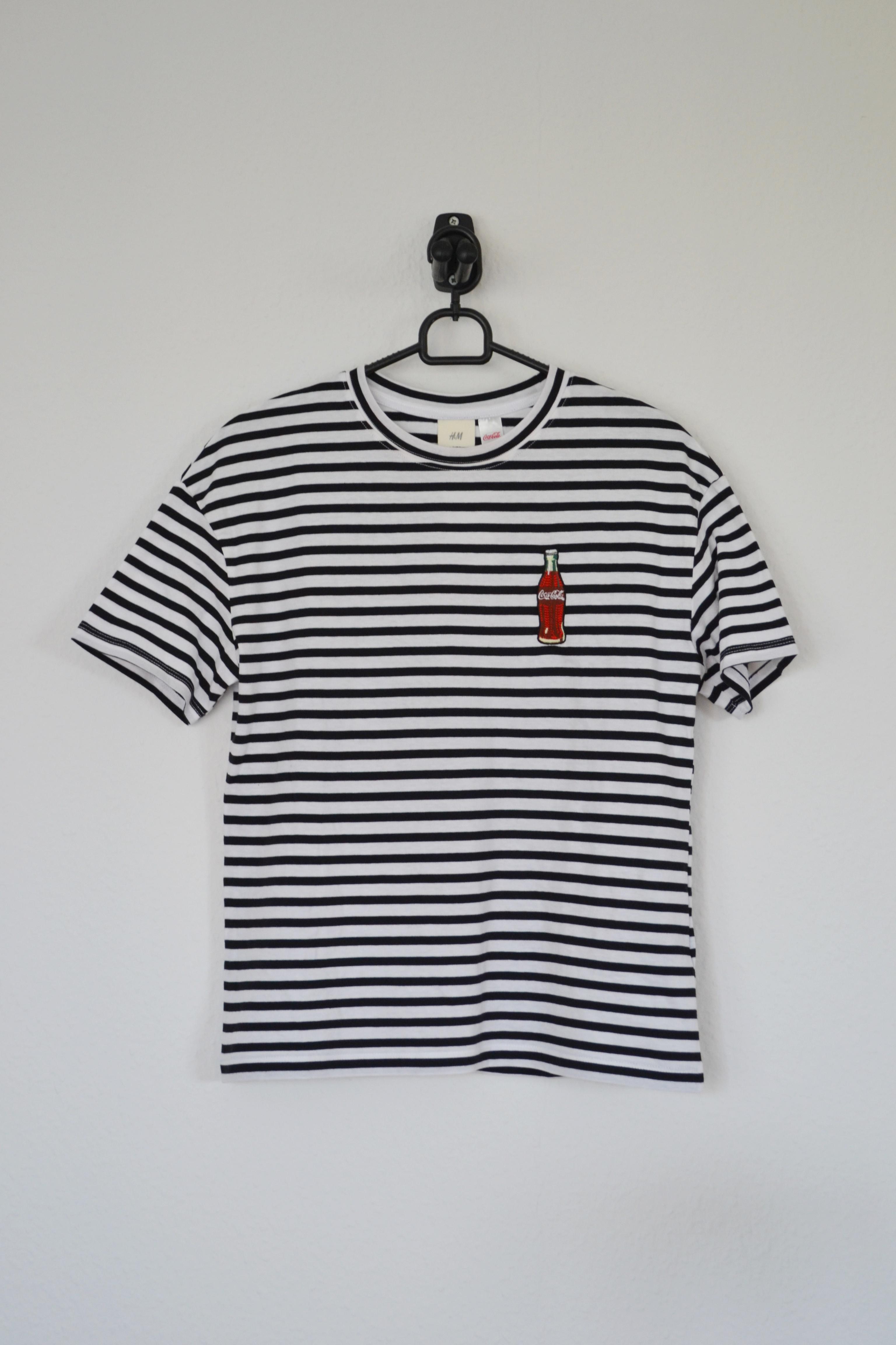 Sort og hvid stribet T-shirt m. Coca Cola flaske - H&M